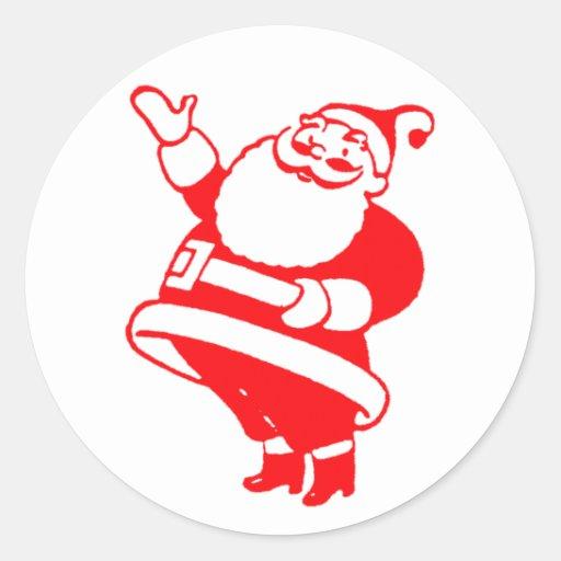 Retro Santa Round Sticker