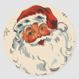 Retro Santa With Stars Classic Round Sticker