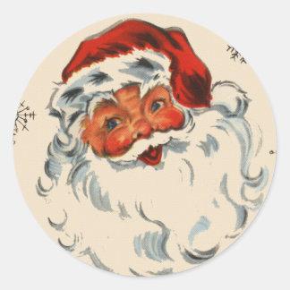 Retro Santa With Stars Round Sticker