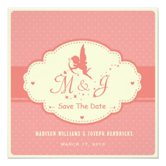 Retro save the date card with Cupid Silhouette