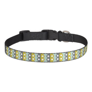 Retro Scalloped Stripes Green Blue Grey Pattern Pet Collars