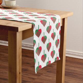 Retro Scandinavian Christmas Hearts Pattern Short Table Runner