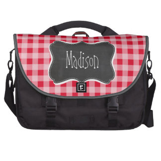Retro Scarlet Red Gingham; Chalkboard look Laptop Computer Bag