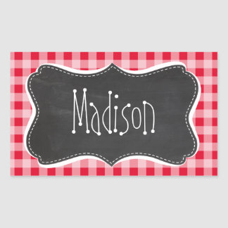 Retro Scarlet Red Gingham; Chalkboard look Rectangular Sticker