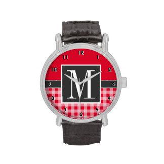 Retro Scarlet Red Gingham Monogram Wrist Watch