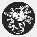 Retro Sci-Fi Robot Head - Black & White Sticker