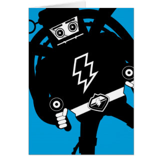 Retro Science Fiction Giant Robot Greeting Card