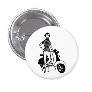 Retro Scooter Girl 3 Cm Round Badge