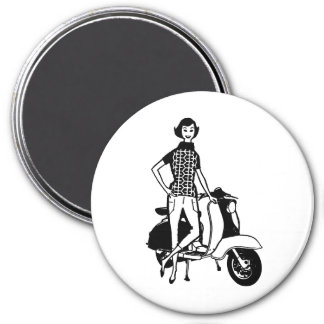 Retro Scooter Girl 7.5 Cm Round Magnet