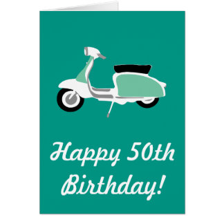 Retro Scooter Happy 50th Birthday Card