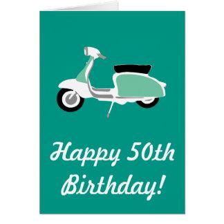 Retro Scooter Happy 50th Birthday Card