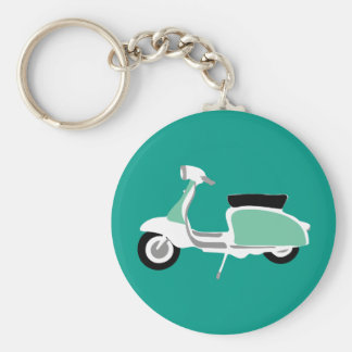 Retro Scooter Round Teal Key Ring