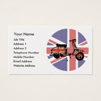 Retro scooter weathered Union jack design Business Card
