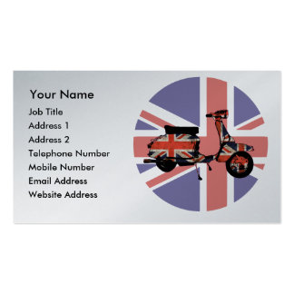 Retro scooter weathered Union jack design Pack Of Standard Business Cards