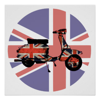 Retro scooter weathered Union jack design Poster