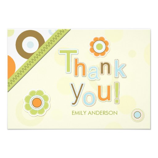 Retro Scrapbook Thank You Baby Shower cards