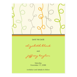 Retro Scribbles + Loops Save The Date Postcard