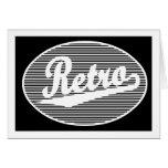 Retro script logo in white cards