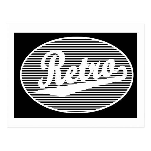 Retro script logo in white postcard
