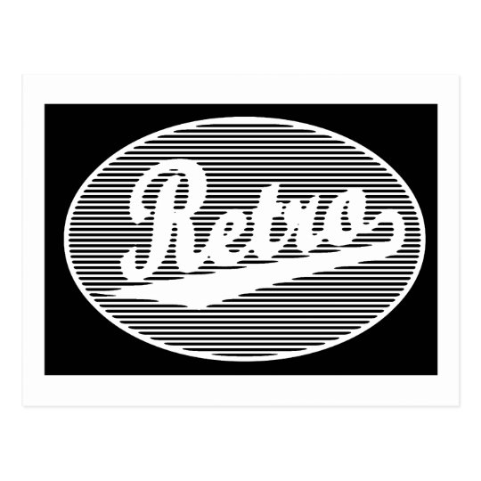 Retro script logo in white postcard