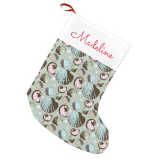Retro Seashell Pattern | Add Your Name Small Christmas Stocking