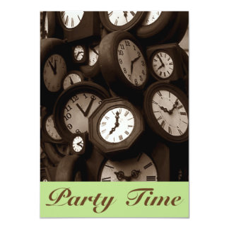 Retro Sepia Clock Faces Hand Party Time Invitation