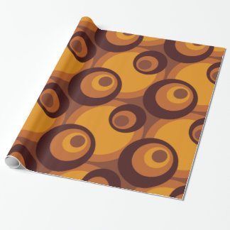 Retro Seventies circles yellow-orange-brown Wrapping Paper