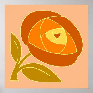 Retro Seventies style rose flower orange square Poster