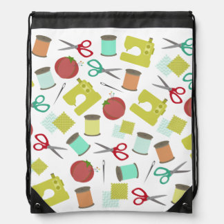 Retro Sewing Theme Pattern Drawstring Backpack
