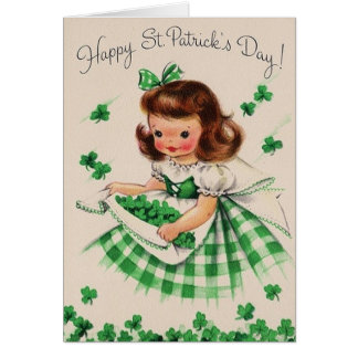 Retro Shamrock Irish Girl St. Patrick's Day Card