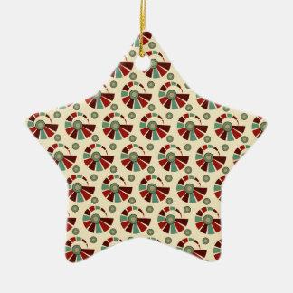 Retro shells and circles christmas ornament