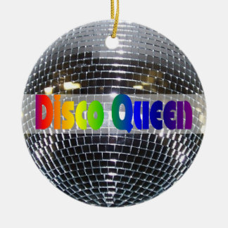 Retro Shiny Silver Disco Ball Rainbow Disco Queen Christmas Ornament