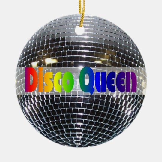 Retro Shiny Silver Disco Ball Rainbow Disco Queen