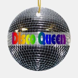 Retro Shiny Silver Disco Ball Rainbow Disco Queen Round Ceramic Decoration