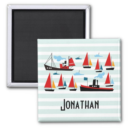 Retro Ships and Boats Striped Kids Magnet