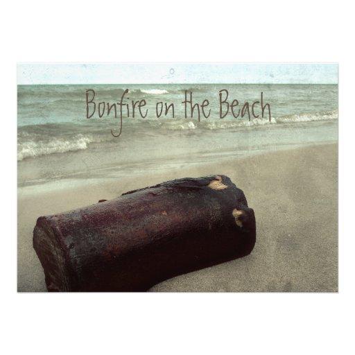 Retro Shoreline Bonfire on the Beach Lake Michigan Custom Invites