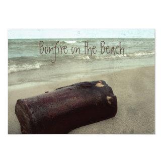 """Retro Shoreline Bonfire on the Beach Lake Michigan 5"""" X 7"""" Invitation Card"""