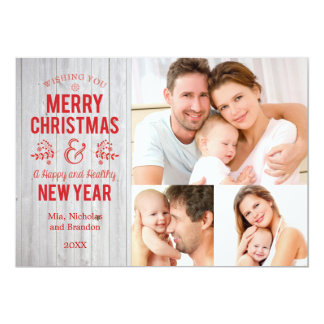Retro Sign in Rustic Wood Merry Christmas Card