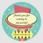 Retro Sign Party Thank You Round Sticker