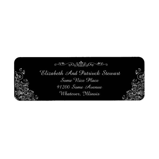 Retro Silver Elegant Stylish Wedding Return Return Address Label