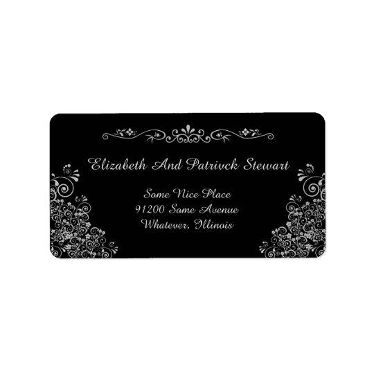 Retro Silver Elegant Stylish  Wedding Shipping Label