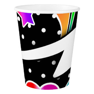 Retro Sixties Pop Star, Black Paper Cup