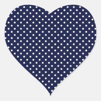 Retro Sixties Tiny navy polka dots Heart Sticker