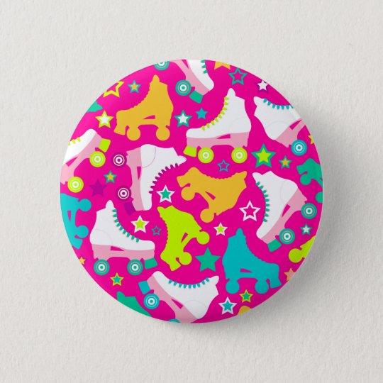 Retro Skates Hot Pink Button Pin