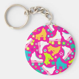 Retro Skates Hot Pink Keychain