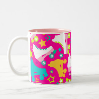 Retro Skates Hot Pink Two-Tone Coffee Mug