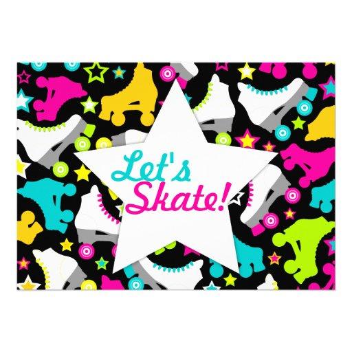"""Retro Skates Invitation """"Let's Skate!"""""""