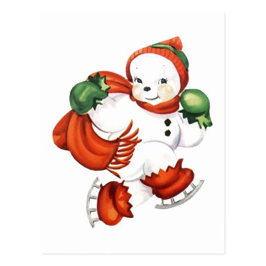 Retro Skating Snowman Postcard