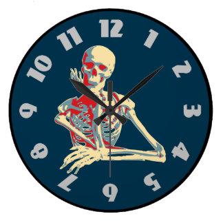 Retro Skeleton Resting His Chin on his Hand Clocks
