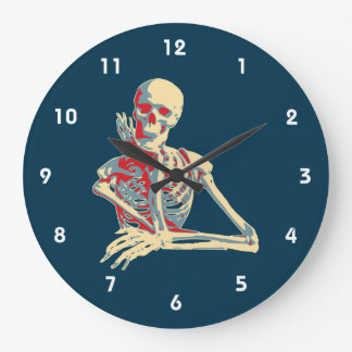 Retro Skeleton Resting His Chin on his Hand Clocks